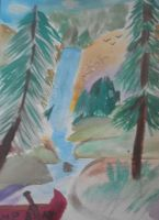 Waterfall painting by JediSkygirl