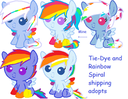 Tie-Dye and Rainbow Spiral adoptables (CLOSED) by iVui