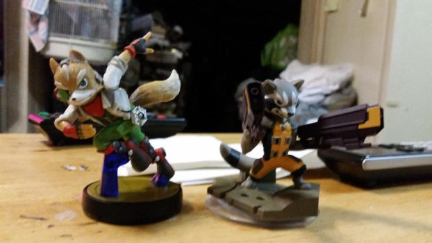 Fox McCloud and Rocket Raccoon Figurines by dragonheart07