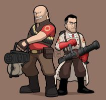 TF2 Heavy and Medic by SandikaRakhim