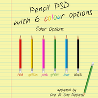 Pencil PSD With 6 Colour Options (PSD) by oneandonedesigns