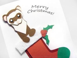 Paper Cut Christmas Stocking Ferret Card by sobeyondthis