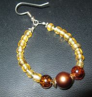 earring - gold and brown by Galasdian