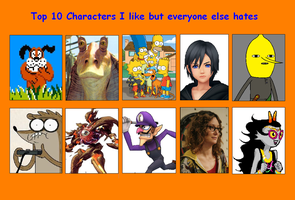 Top 10 Characters I like but everyone else hate by Skapokon