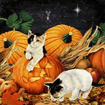 Cats and Pumpkins by Tinlwen