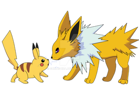 Pikachu and Jolteon by Elixean