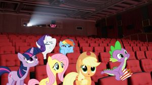 Mane 6 And Spike Watching A Movie by Macgrubor