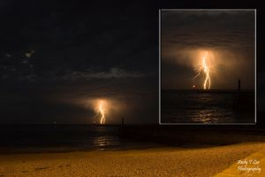 Lightning over the sea by ATLEE-Photography