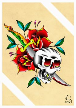 Skull, dagger, and roses by BeyondEdge