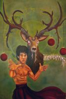 Bruce Lee and Death Stag by VanadiumTaintedBeryl