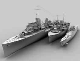 Destroyer, corvete and U-Boot by Gabriel67