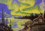 ACEO Northern Lights Cabin by annieoakley64