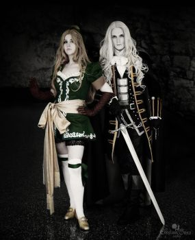 Traversing the Marble Gallery: Maria and Alucard by Elysium-Sans