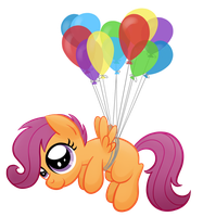 Scootaloo and Balloons by drawponies