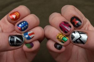 Avengers Nail art by craftymccraftersons