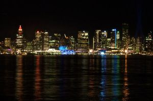 Night Ignites Coal Harbor by WestSideofMidnight