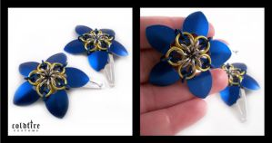 Blue and Yellow Flower Clips by coldfirecustoms