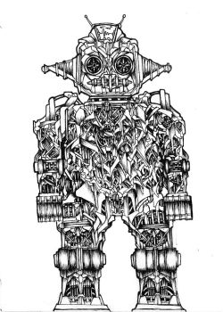 Old School A5 Ink drawing by shenj010