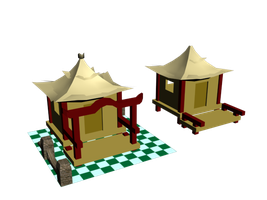 Two Chinese Huts by Caelhath