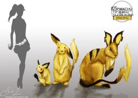 Pikachu and evolutions. (Realistic) by ex0tique