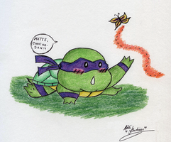 Donnie Chasing a Butterfly by KawaiiKittee88