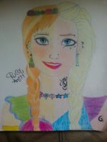 Elsa and Anna from Frozen by rubyanett04