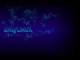 Gnu Linux dark blue by troikas