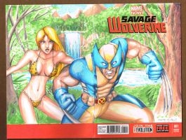 Savage Wolverine 1 Sketch Cover Shanna by ChrisMcJunkin