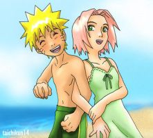 NaruSaku summer by taichikun14