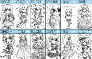 Hotaru's Outfits by bunnyb133