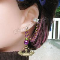 Purple and Green UFO Cartilage Chain Earring by merigreenleaf