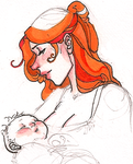 Sansa with baby by hedgehog-in-snow