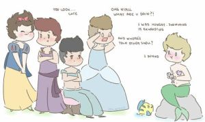 One Direction + princesses by milamint