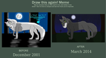 Before And After_Lonewolf in the Moonlight by SolitaryGrayWolf