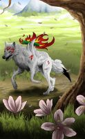 Okami fan art - testing out first tablet by BecciES