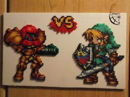 CSW Samus vs Link Perler Beads by Cimenord