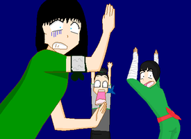 Rin and Lee and Shikmaru in a weird situation by heartsgirl