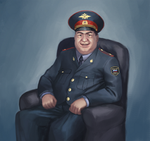 Fat and ugly police officer by Butjok