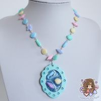 Scalloped Blue Seashell Cameo Necklace by PeppermintPuff