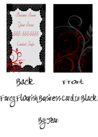 Black and Red Flourish Business Card by jeaniem12