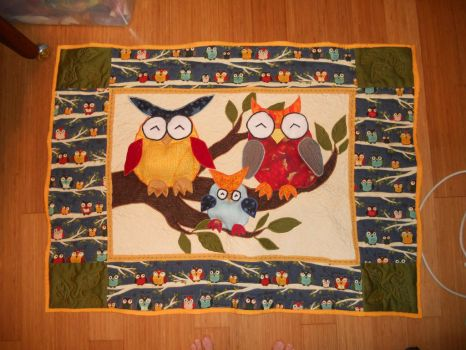 Owl Baby Quilt by SirLadySketch