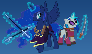 Princess Luna and Vinyl Scratch Samurai Warriors by empty-10