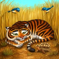 Tiger with Tortoise for Tiger Stripes by feliciacano