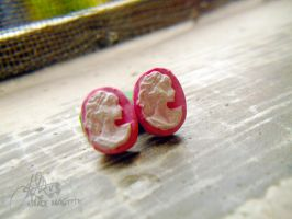Pink Cameo Earrings by margemagtoto