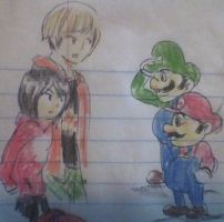 William and Nicole meets Mario and Luigi by skatergirl747