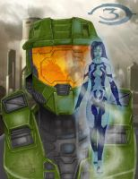 Halo 3 Master Chief with Corta by WackoShirow