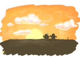 Robots and Cacti like sunsets too by OnigirixPlushie