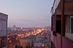 Night panorama of Szombathely by PeterTakacs