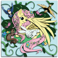 Mock-up: Charity Auction 2014, 1 of 6. Fluttershy by The-Paper-Pony