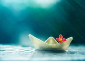 Little boat and summer rain by arefin03